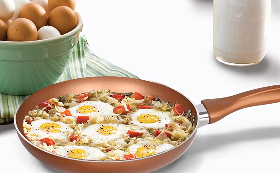 homiu cooking frying pan copper plated non stick convection