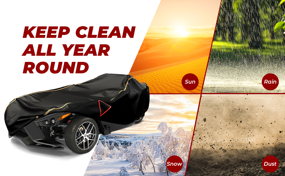 kemimoto Full Cover Compatible with Polaris Slingshot Water-repellent Windproof All Weather Protection Covers with Reflective Strips