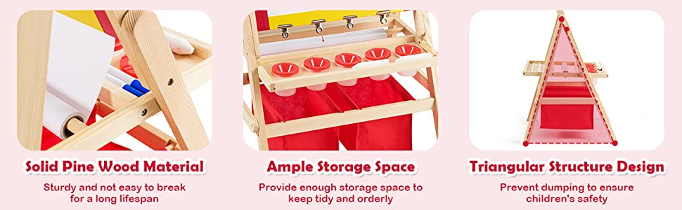 double sided easel for toddlers - Costzon 3 In 1 Kids Art Easel With Paper Roll, Double Sided Adjustable Chalkboard & White Dry Erase With 4 Drawing Board Clips, Storage Bins, 26 English Alphabet Tiles For Toddlers (Red)