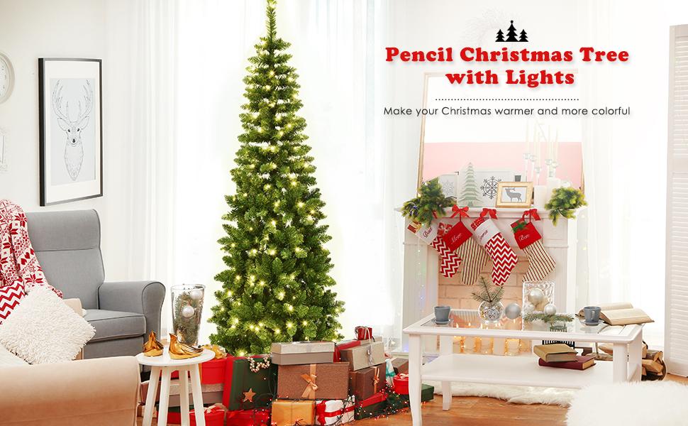 Prelit Pencil Christmas Tree