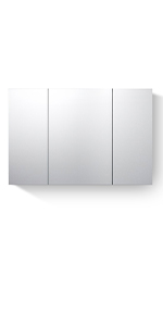 Bathroom Mirror Cabinets Stainless Steel Wall Mounted with Triple Mirrors 3 Doors Wall Storage