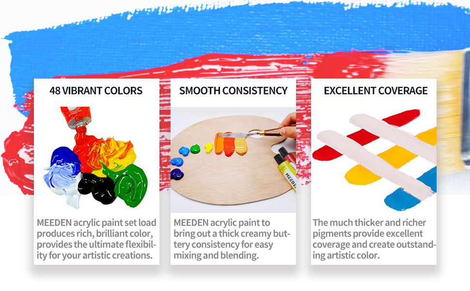 smooth consistency,excellent coverage,MEEDEN acrylic paint,rich color