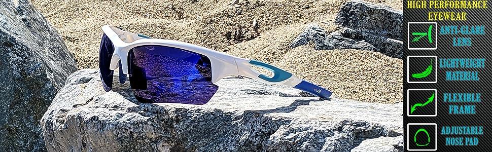 white frame blue mirror lens volleyball beach polarized sunglasses for women men running