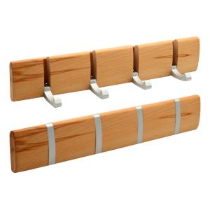 Harbour Housewares Perchero de Pared con 4 Brazos - Ganchos metálicos Plegables - Madera - Blanco - Pack de 2
