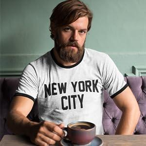 new york city lennon ringer t-shirt