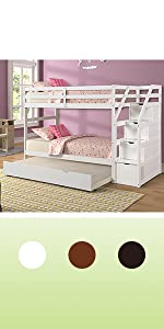 twin over twin bunk bed for kids wood white bunk bed with storage and trundle