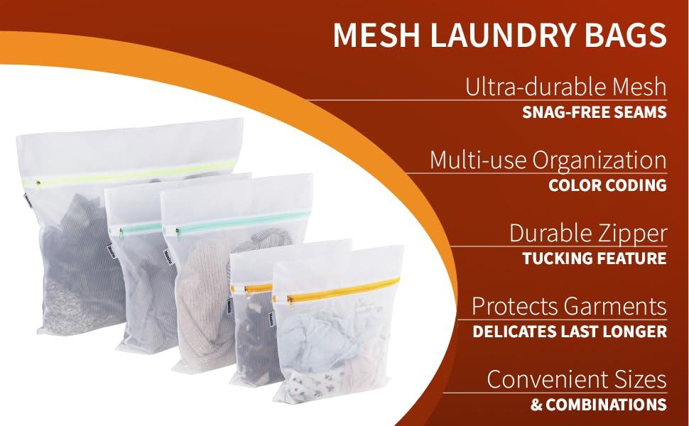 Ultra-durable mesh, snag-free seams, multiuse organization, color coding, durable zipper