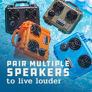 stereo sound multipairing waterproof bluetooth speaker portable outdoor rugged loud demerbox