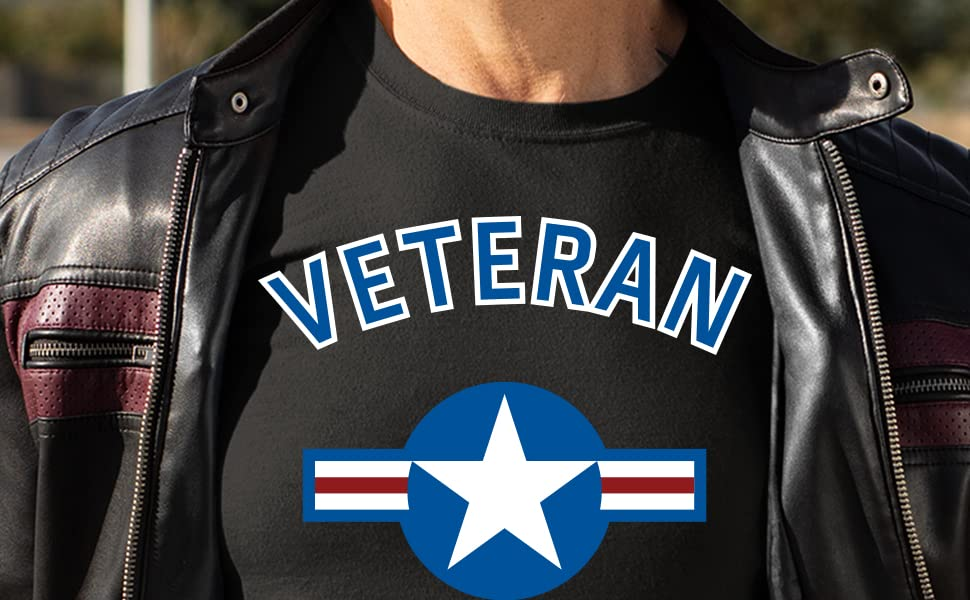 US Air Force Veteran black t shirt full color red white blue roundel logo Vetfriends military