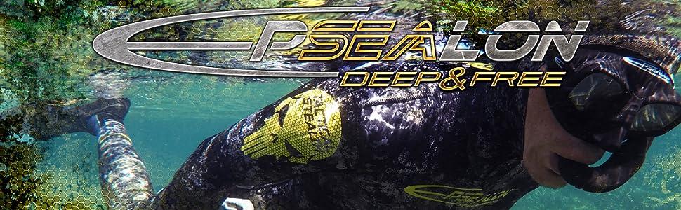 Boucles /à r/églage Rapide 300 g Id/éal pour la Chasse sous-Marine Noir Masque de Plong/ée Seawolf Champ de Vision Optimum EPSEALON Cerclage en Polycarbonate Silicone Hypoallerg/énique