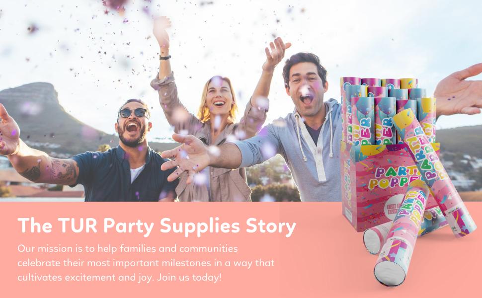 tur party supplies, happy, friends, celebration, confetti cannon