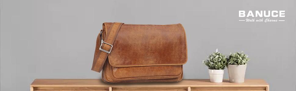 Messenger bag sewn from fine Italian tweed and corduroy orange