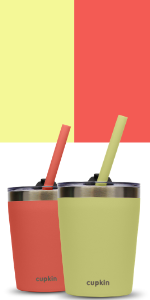 coral yellow stainless steel kids cups