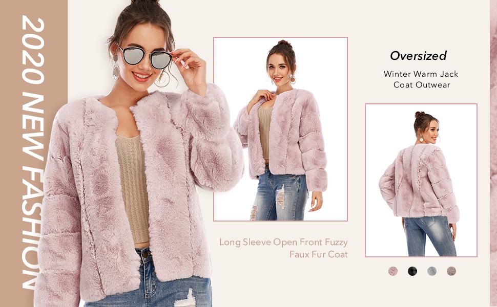 open front fur coat for women
