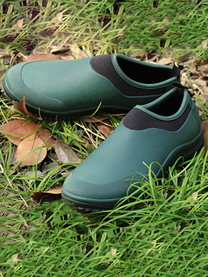 Green Rubber Shoes in leaves