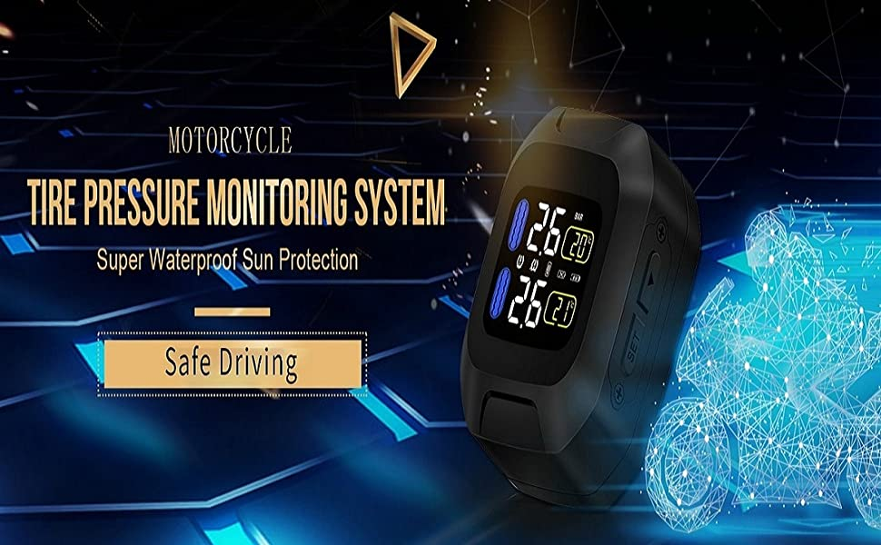 INFITARY TPMS Motorcycle Tire Pressure Monitoring System Auto Bike Tyre Alarm LCD Real Time Monitor Temperature Chargeable Wireless Motorbike TPMS for ...