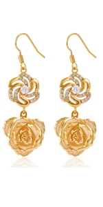 gold pink rose earring dangler eardrop Studs