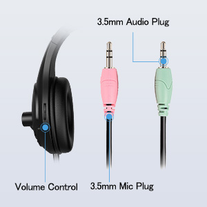 headset with volume contorl