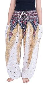 White peacock printed harem boho pants