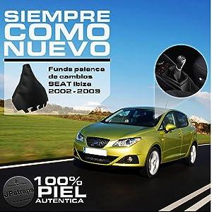 JPstraps Funda Palanca Cambio de Marchas Accesorios Coche Interior 100% Piel Genuina Color Negro Compatible SeatIbiza 2002-2008