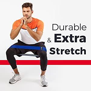 Fabric resistance bands for legs and glutes workout by man