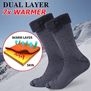 Cold Weather Thermal Socks Time and River Unisex Winter Insulated Thick Warm Socks for Trekking Hiking Snowboarding