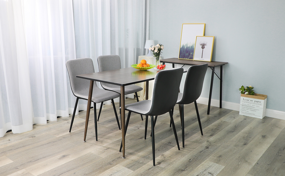 Coavas Dining Chairs Set of 4, Kitchen Chairs with with Fabric Cushion Seat  Back, Black Washable PU Back and Metal Legs, Modern Mid Century Living ...