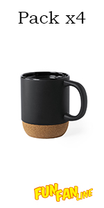 Tasse, Mug, Liège naturel, Blanc, Noir et blanc, Noir