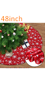 Red Christmas Tree Skirt with SnoRed Christmas Tree Skirt with Snowflakeswflakes
