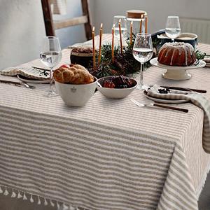 Stripe Tassel Tablecloth