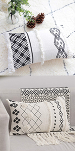 tribal tassels throw lumbar pillow cover geometric boho morocco long pillowcase black white