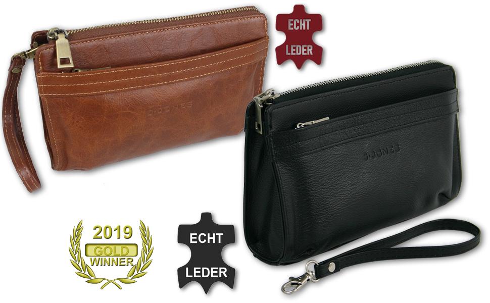 Herren Handgelenktasche Tasche aus Leder Herrentasche Handtasche für Männer klein schwarz braun