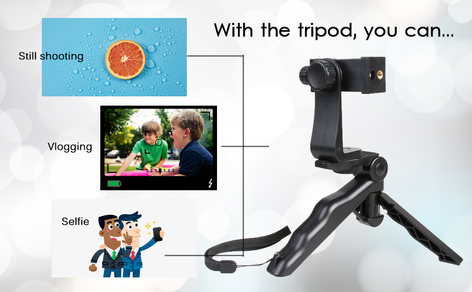 aXXcssqw9bFoldable Universal Mini Stable Tripod Head Rotation Grip Handle for Phone Camera Black