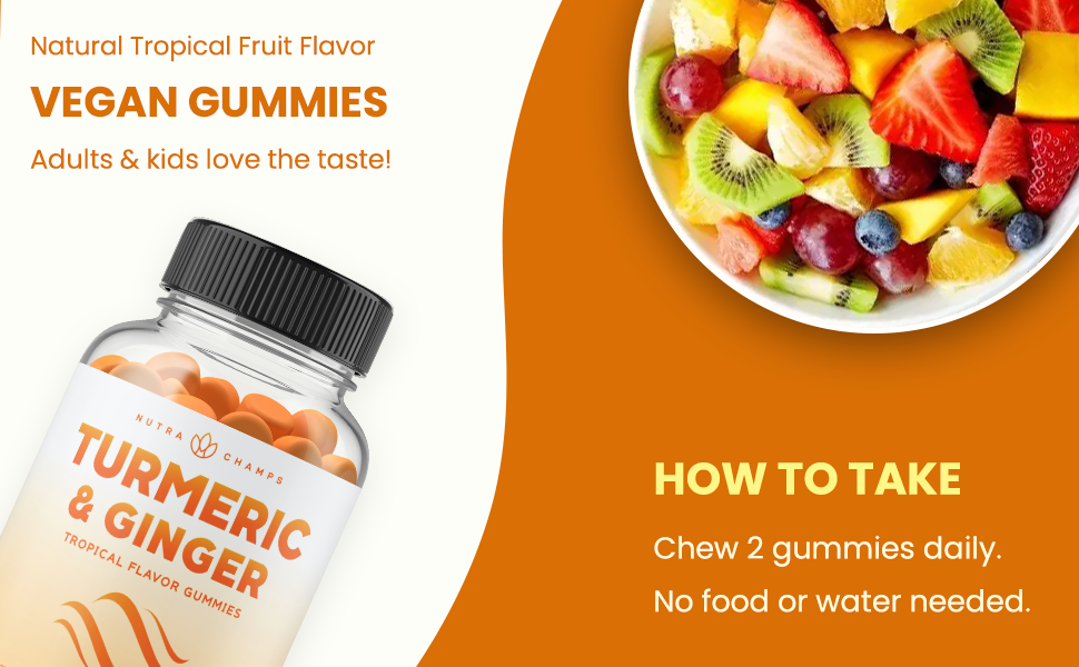 curcumin gummy vitamins for kids and adults, high potency ginger and tumeric chewable supplement