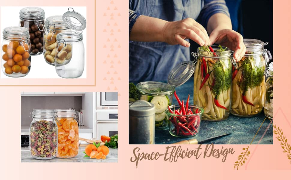 1500 ml clamp lid kitchen grocery grain storage glass jars