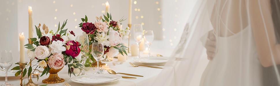Marsala and Blush Wedding Flower Decor