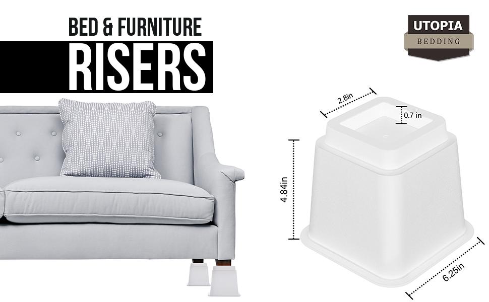 2 Inches meubles BTSKY Lot de 4 rehausseurs ronds pour lit /él/évateurs Noir Plastique table