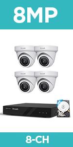 4 8MP Surveillance CCTV Bullet Dome IP Cameras