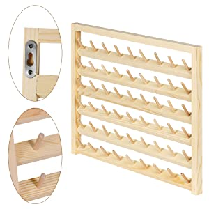 Wall-Mounted Sewing Thread Holder with Hanging Hooks 54-Spool Sewing Thread Rack