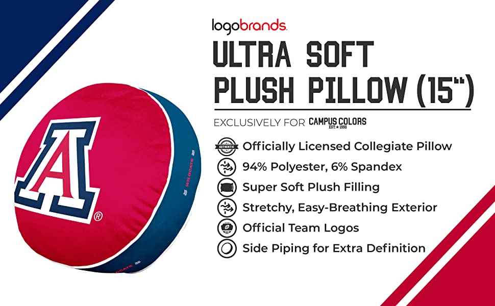 """Ultra Soft Plush Pillow (15""""). 94% Polyester, 6% Spandex. Stretchy, Easy-Breathing Exterior."""