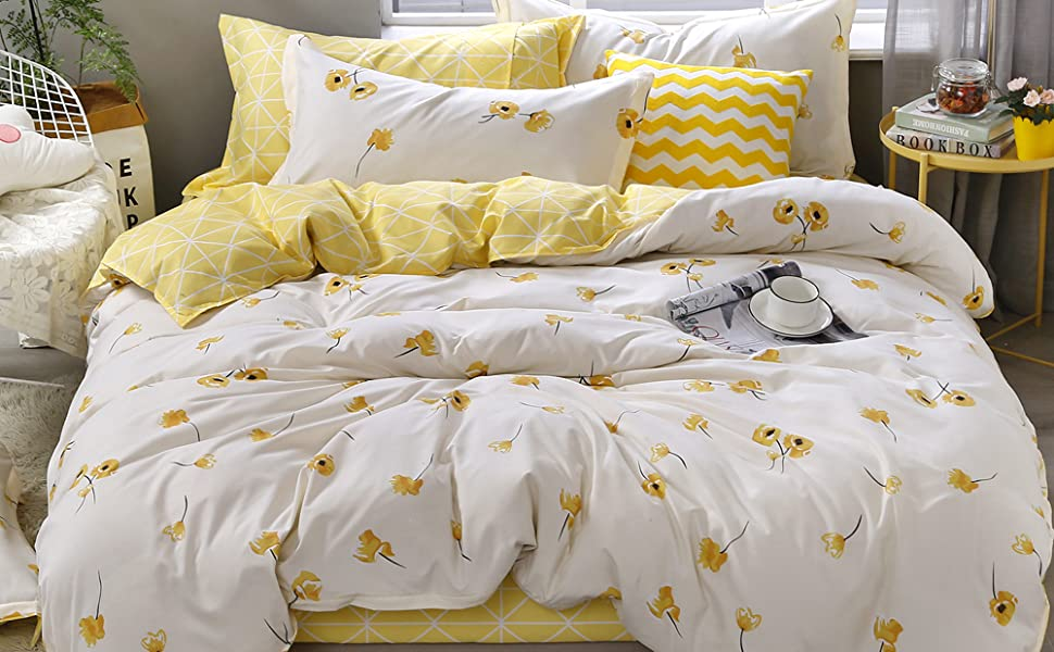 Duvet Quilt Cover Darcy Set Yellow Floral Polyester Cotton Yellow Double Size