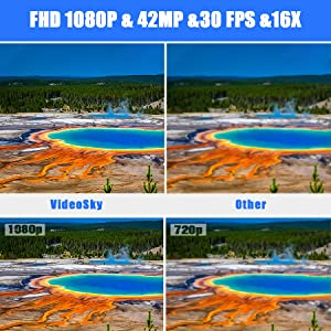hd camera  Video Camera Camcorder with Microphone, VideoSky 42MP HD 1080P 30FPS Digital Recording Camcorders for YouTube 64 GB Memory Card Vlogging IR Night Webcam Time-Lapse Slow Motion,Touch Screen, Lens Hood 5779e0b5 60d1 4e63 8999 1302f65abee9