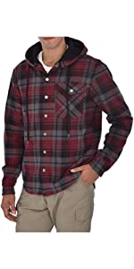 Swiss Alps Mens Checkered Fleece Lined Pocket Front Hooded Flannel Shirt Jacket
