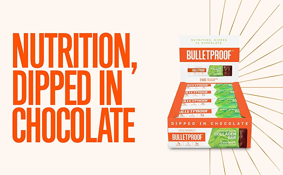 Bulletprof chocolate dipped decadent chocolate bars nutrition clif bar protein peptide collagen