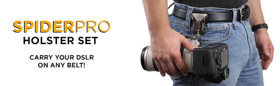 SpiderPro Holster Set v2 Spider Holster Clip on to Any Belt and conveniently Carry a DSLR Camera at Your Hip!