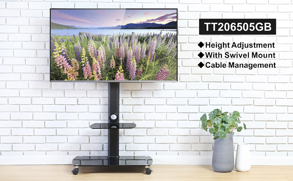 Floor TV Stand with Wheels for 32 to 65 inch