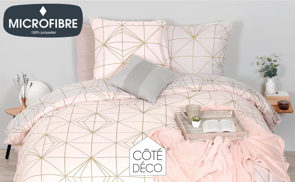 Parure de lit lampion géométrique rose scandinave pour lit deux places standard