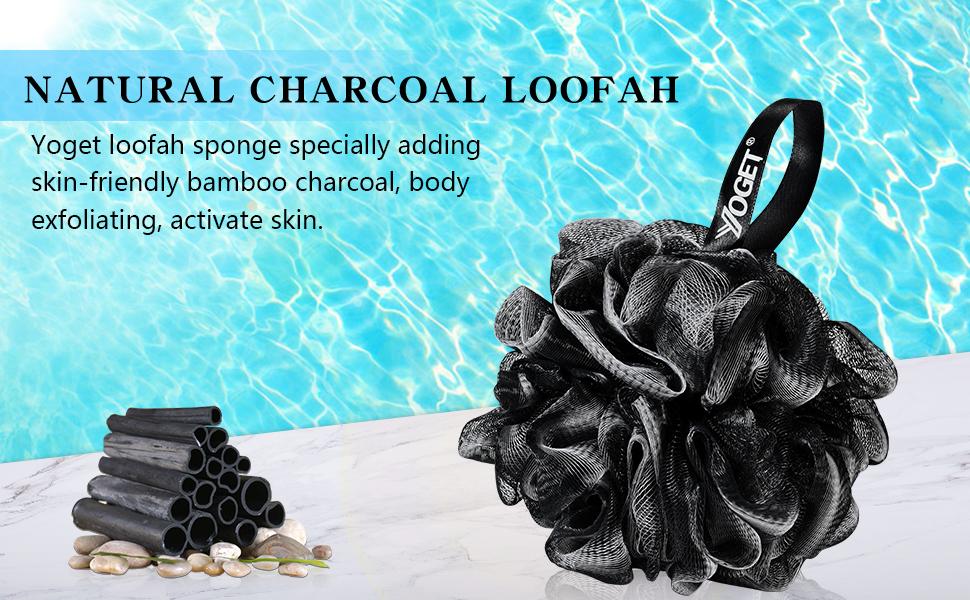 Black Loofahs shower sponge scrubber packs