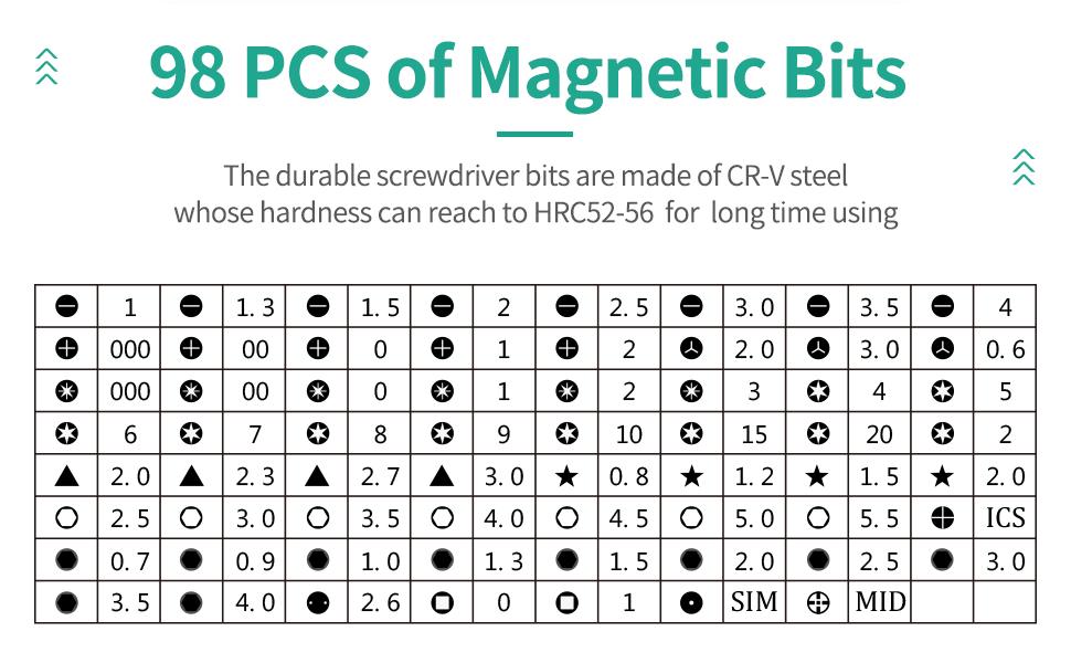 98 Pcs of Magnetic Bits