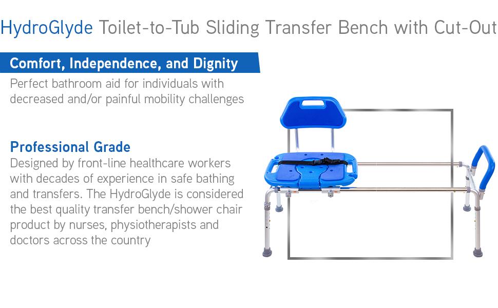 platinum health hydroglyde transfer bench. Professional grade bench in blue